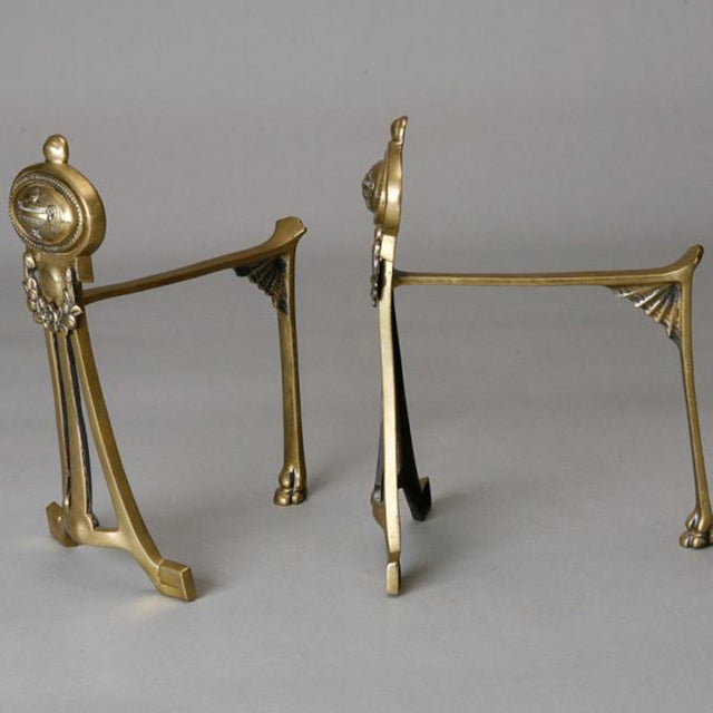 English Small Brass Andirons- A Pair - Image 5 of 6