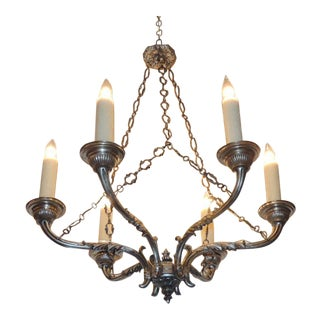 Late 18th C Italian Baroque Nickeled Bronze Chandelier
