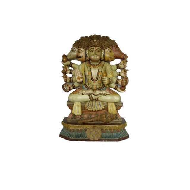 Hand carved wooden hindu god hanuman sculpture chairish