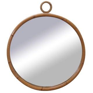 Mid-Century Round Bamboo Wall Mirror