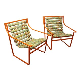 Pair of Mid-Century Modern Atomic Orange Samsonite Outdoor Scoop Seat Arm Chairs