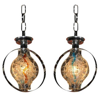 Pair of Murano Glass Pendant Lights or Chandelier