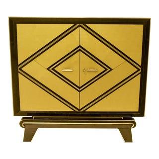 1970s Italian Art Deco Design Black and Gold Glass Cabinet