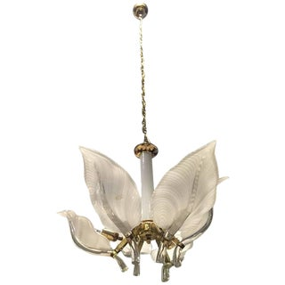 Franco Luce Italian Murano Mid Century Floral Chandelier