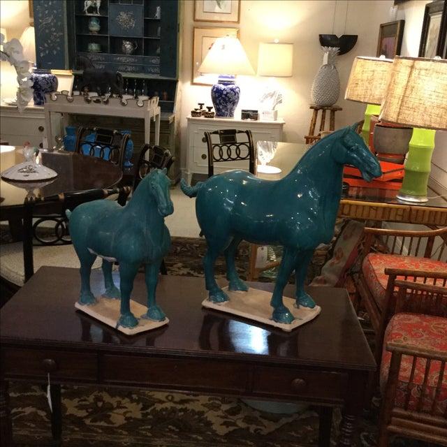 Turquoise Ceramic Horses - A Pair - Image 2 of 5