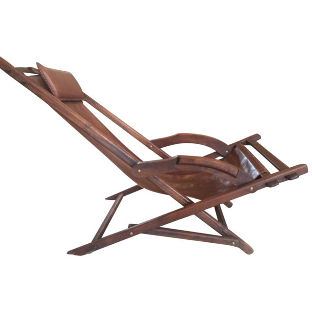 Image of Mid-Century Wooden And Leather Lounge Chair