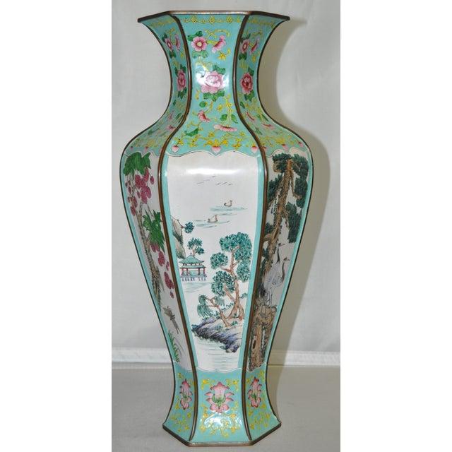 Early 20th Century Hexagonal Enameled Copper Vase - Image 2 of 6