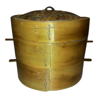 Vintage Bamboo 3 Tier Steamer