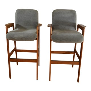 Danish Modern Teak Bar Stools With Arms - A Pair