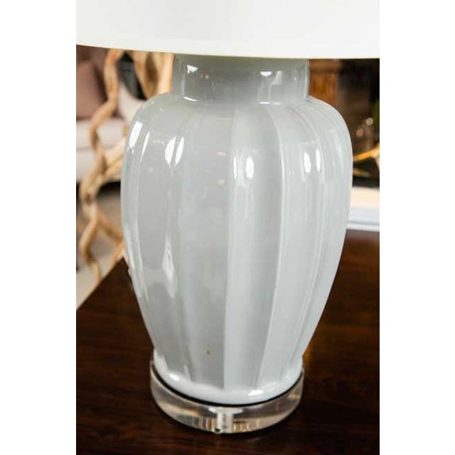 Image of Mid-Century Squash Form Lamp on Lucite Base