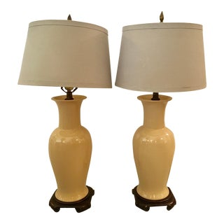 Ceramic Mid-Century Asian Style Lamps - A Pair