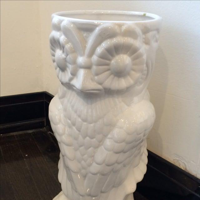 Image of White Glazed Owl Umbrella Stand