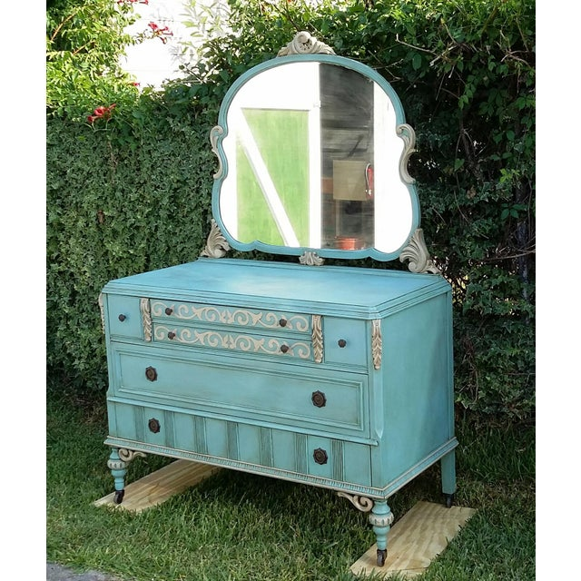 Hand-Painted Depression Era Dresser with Mirror - Image 2 of 10
