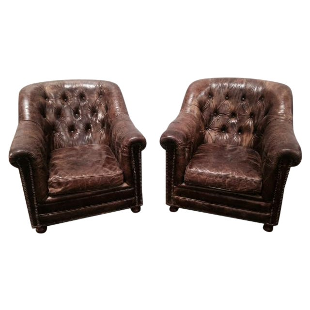 Leather Club Chairs - Pair - Image 1 of 11
