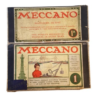 Antique Meccano 1 and 1A Engineering Toy Kits