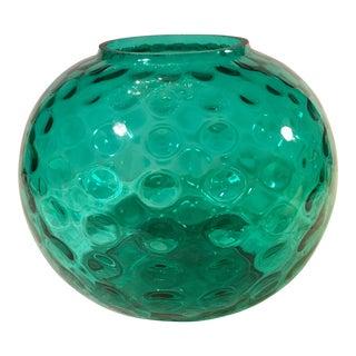 Mid-Century Round Art Glass Aquamarine Vase