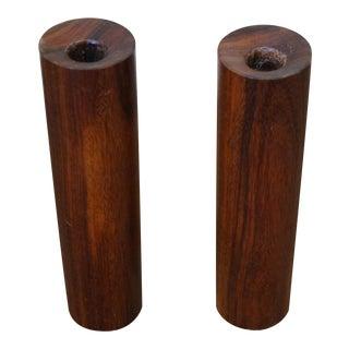 Midcentury Danish Modern Teak Cylinder Candle Sticks - A Pair