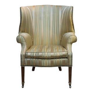 Vintage Silk Wingback Chair
