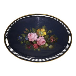 French Hand Painted Toleware Tray With Roses C.1950