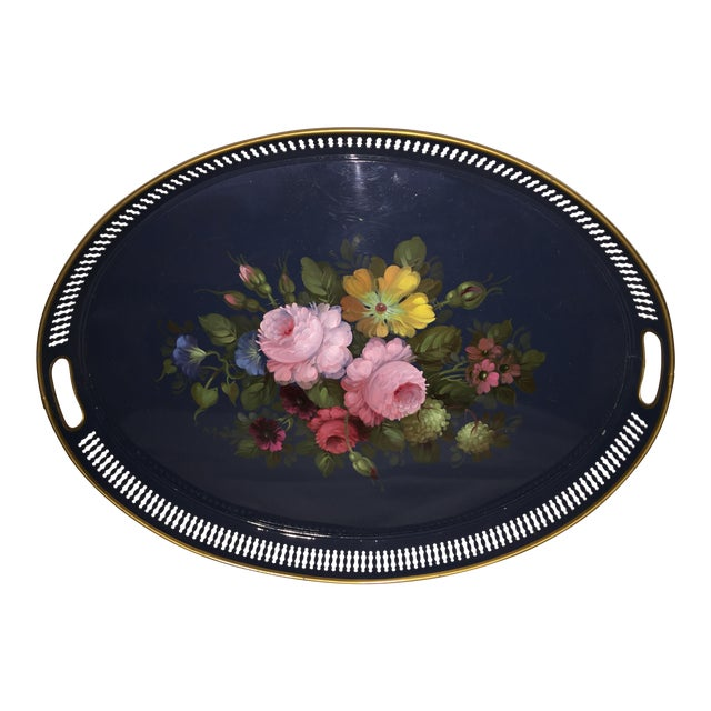 French Hand Painted Toleware Tray With Roses C.1950 - Image 1 of 8
