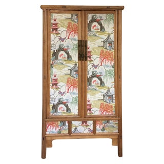 Retro Chinese Upholstered Armoire