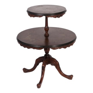 Vintage Mahogany Carved 2 Tier Dumbwaiter Table
