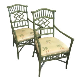 Green Tropical Chinese Chippendale Chairs - A Pair