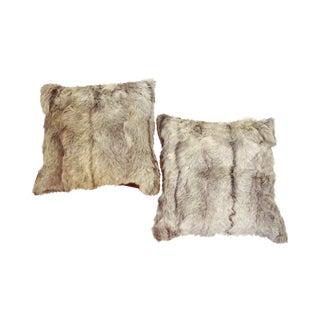 Goat Hide Throw Pillows - A Pair