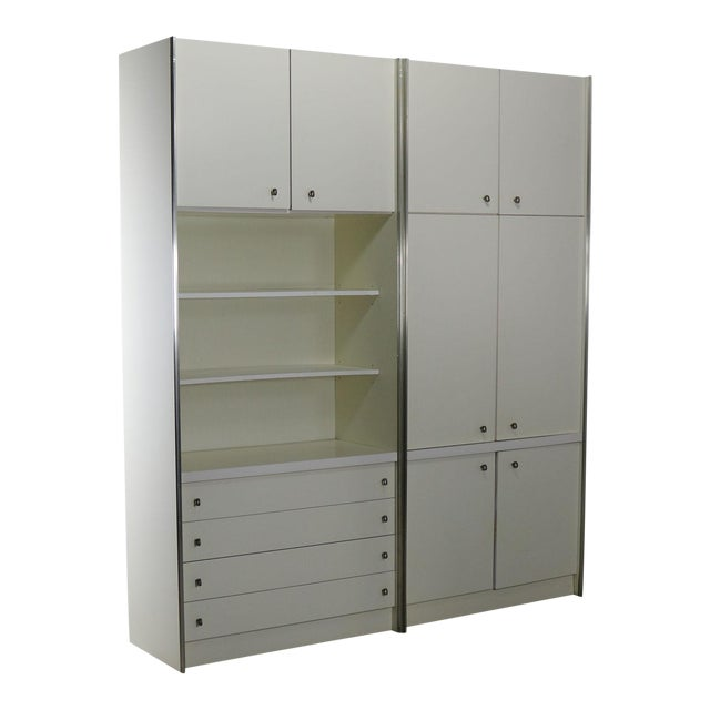 Mid Century Modern White Laminate Wall Unit Bookcase Display Cabinets, a Pair - Image 1 of 11