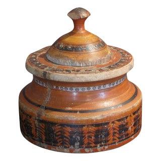Antique Orange & Black Spice Box