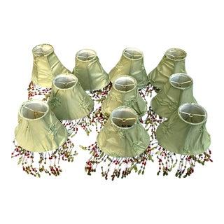 Green Silk Beaded Chandelier Lamp Shades- Set of 10