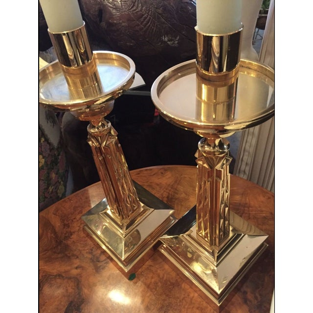 Gold Plate Bronze Candlesticks Nouveau Goth-A Pair - Image 6 of 9