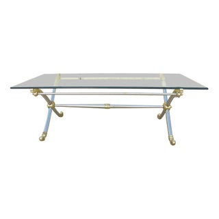 Neo-Classical Style Brass & Chrome Coffee Table