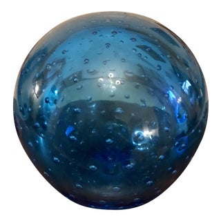 Retro Blue Bubble Glass Paper Weight Large