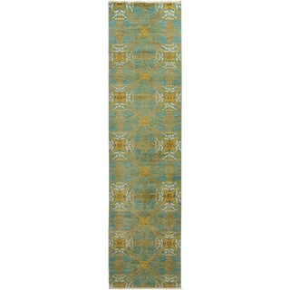 """Eclectic, Hand Knotted Runner Rug - 3' 3"""" x 12' 5"""""""