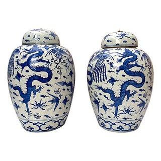 Dragon Altar Urns - Pair