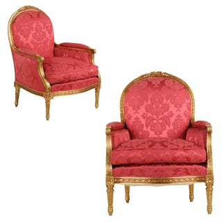 French Louis XVI Style Giltwood Arm Chairs - A Pair