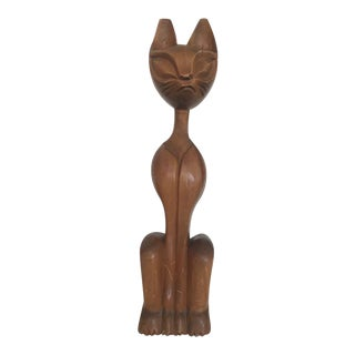 Mid-Century Wood Carved Cat Statue