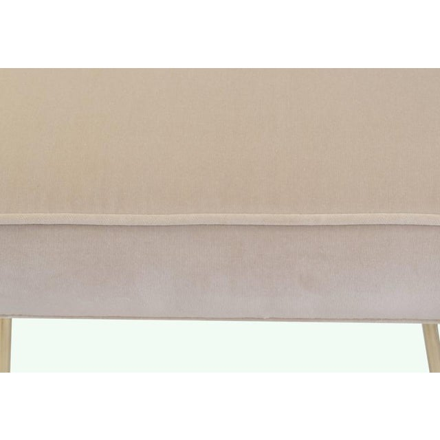 Petite Brass Hairpin Ottomans in Oyster Velvet by Montage - Image 8 of 8