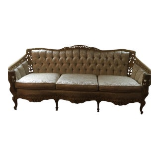 Victorian French Style Tufted Upholstery Carved Wood Sofa