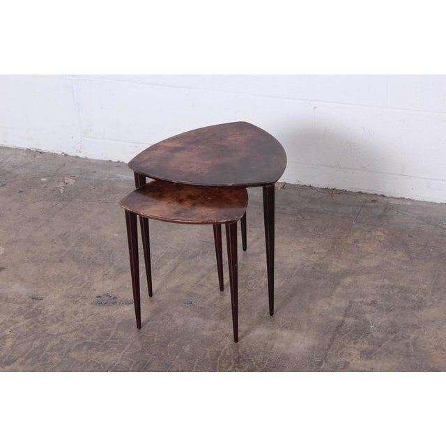 Pair of Goatskin Nesting Tables by Aldo Tura - Image 3 of 10