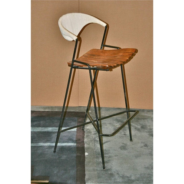 Vintage Arthur Umanoff Wrought Iron Barstools - Set of 5 - Image 9 of 11