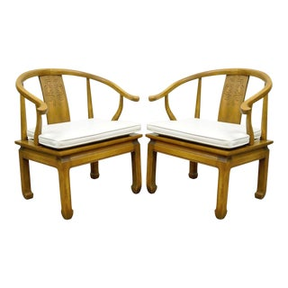 Vintage Century Chair Co Asian Ming Horseshoe Arm Chairs - a Pair