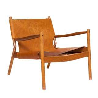 Erickson Aesthetics Slung Leather Teak Lounge Chair