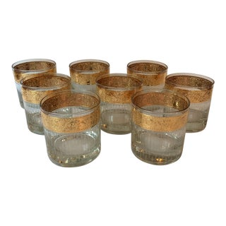 Culver Mid-Century Modern Gold Low Ball Glasses- Set of 8