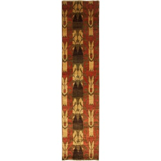 "Ikat Hand Knotted Runner Rug - 2' 4"" X 10' 2"""