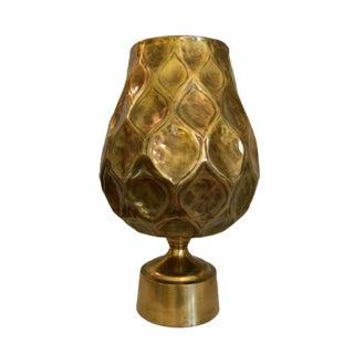 Large Hammered Brass Finished Floor Vase