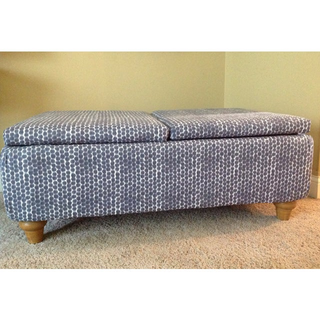 Navy Ikat Storage Ottoman - Image 2 of 6