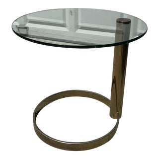 Pace Brass & Glass Circle Side Table