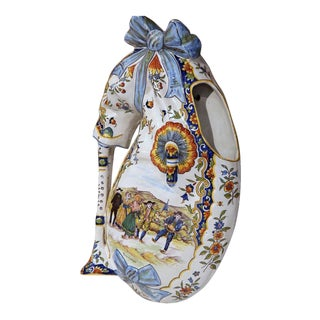 19th Century French Hand-Painted Faience Wall Bagpipe